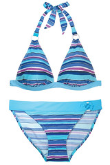 Blue Hawaii SS13S0372 Ring Halter Top & Bikini Buttom Turquoise Stripe