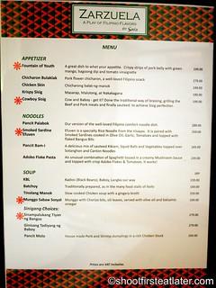 Zarzuela menu
