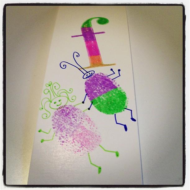 May 1 - thumbprint {bookmark made with thumbprint art 'happy' doodlebugs} #photoaday #thumbprint #art #doodlebugs #handmade @missyfowler47