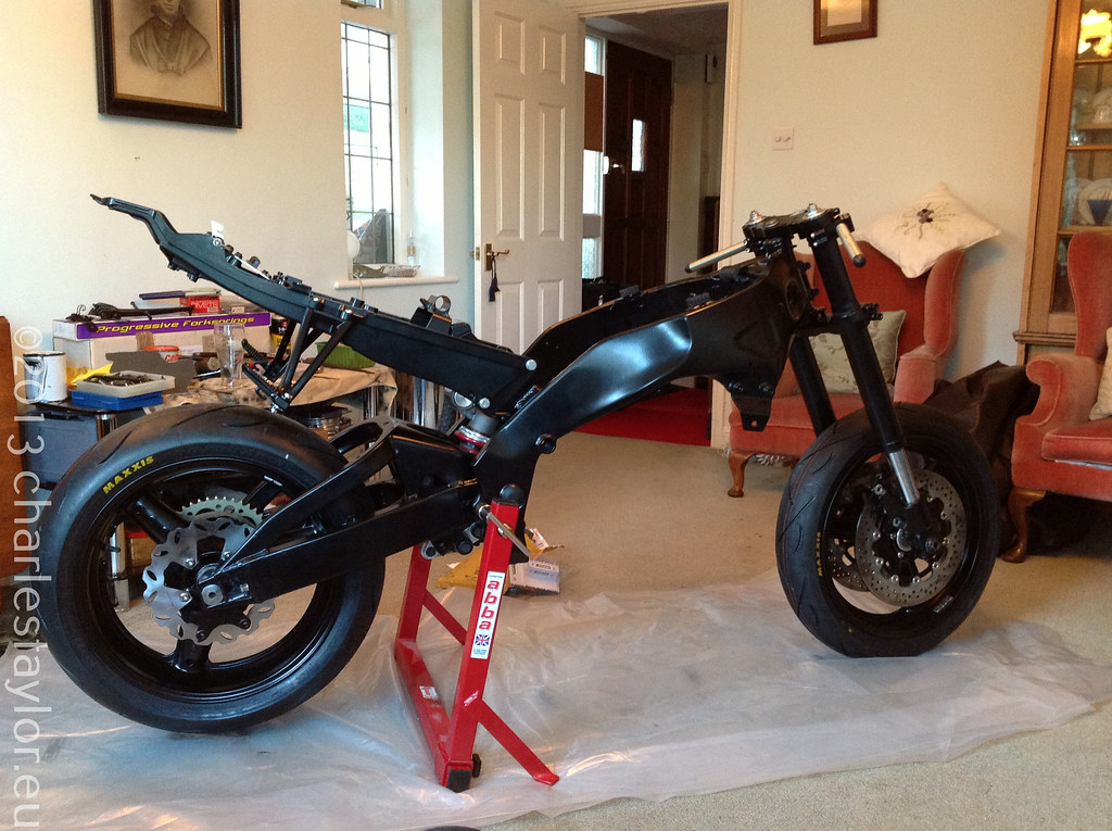 rf900 upside down forks, new powder coated parts, abba stand