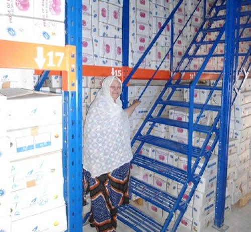 .Safina Bibi, the first female owner of a cold store facility in the Balochistan Province of Pakistan, stands near boxes of packaged produce at her remodeled facility. (Courtesy Photo)