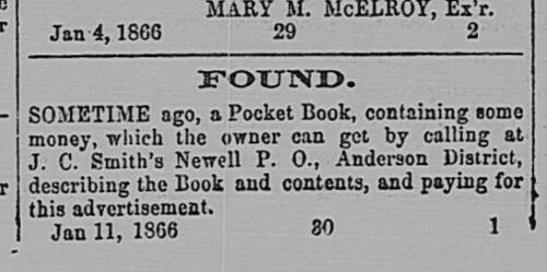 Found Purse in Newell 1866