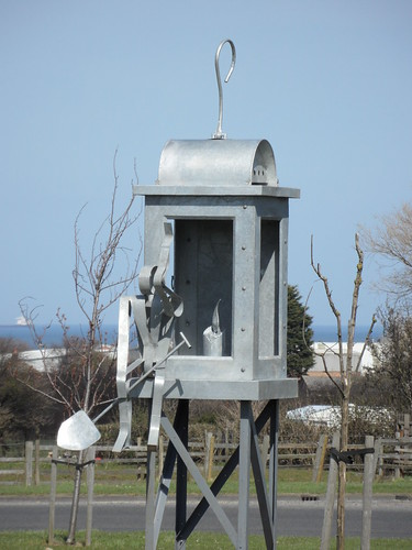 Miner's lamp sculpture