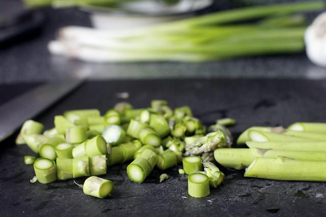asparagus, cut into segments