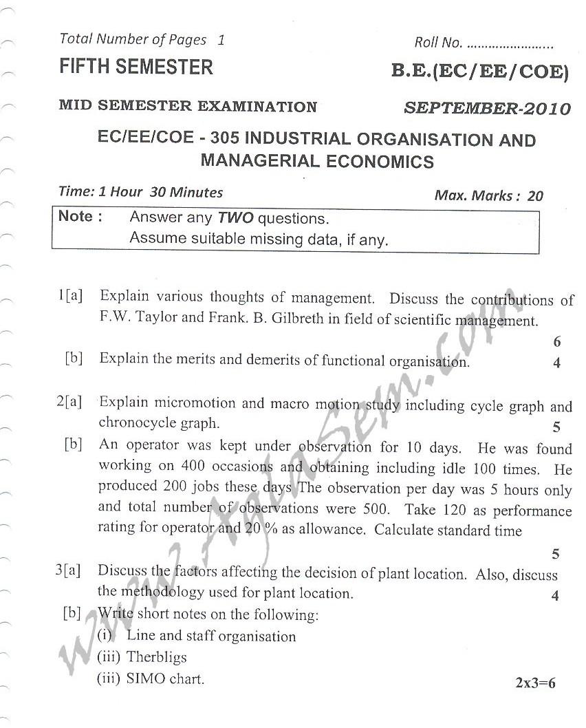 DTU Question Papers 2010 – 5 Semester - Mid Sem - EC-EE-COE-305