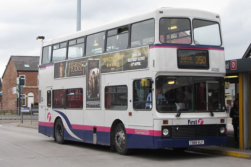 Volvo Olympian, First Pioneer, Northern Counties Palatine II body, T988 KLF, Ashton-under-Lyne bus station