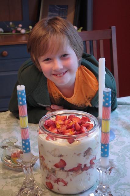 I made a strawberry trifle for dessert