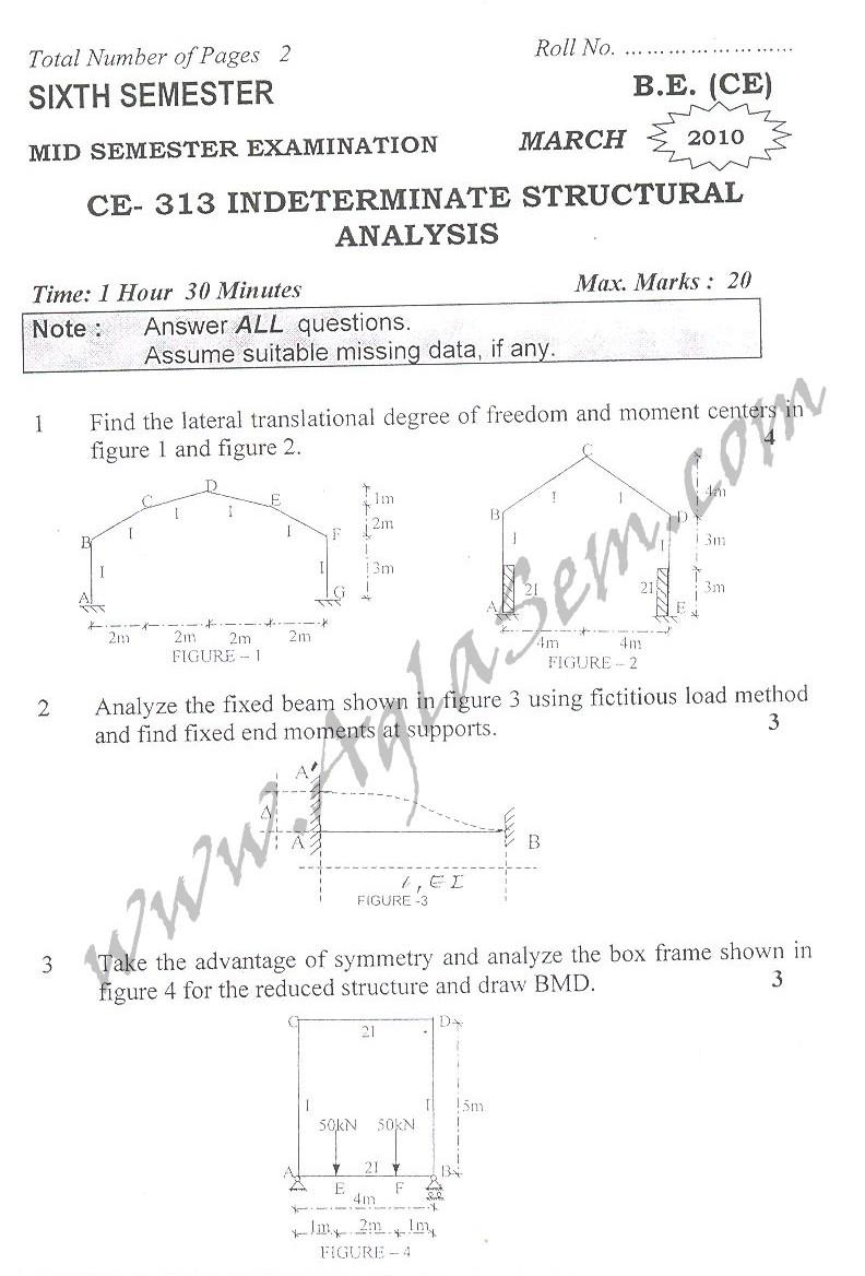 DTU Question Papers 2010 – 6 Semester - Mid Sem - CE-313