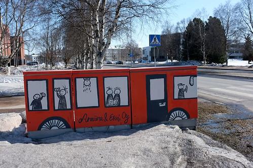 Red bus, Rovaniemi, Lapland