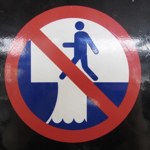 ferry terminal warning sign