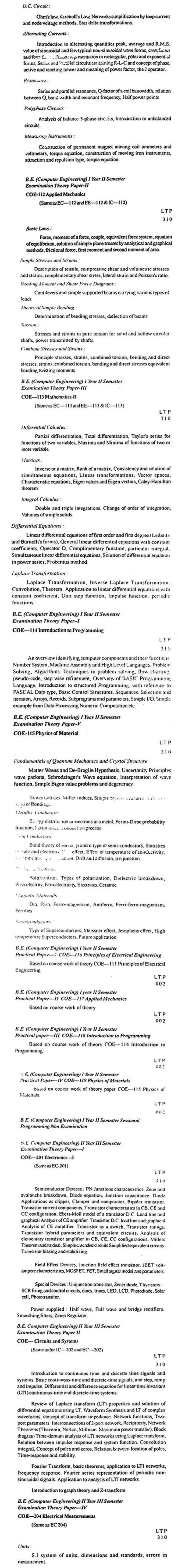 DTU Syllabus - Computer Engineering