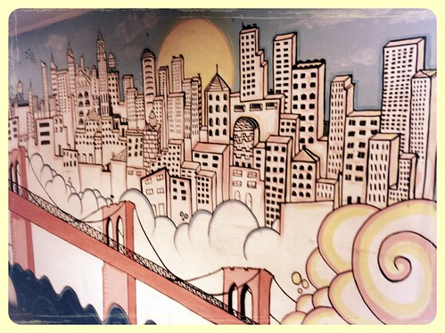 The cool mural of the Brooklyn Bridge landscape at Midtown's Macaron Cafe by Dan Nguyen @ New York City