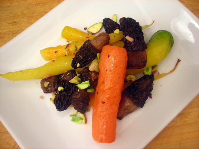 Roasted rainbow carrots, with golden morels, pistachio nuts and honey
