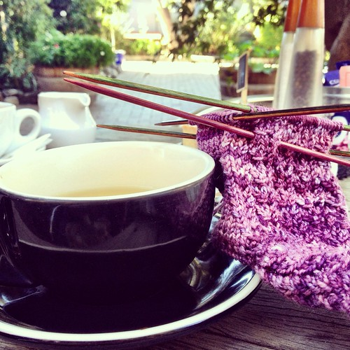 Tea and knitting. Berry.