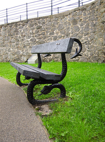 A bench in Clitheroe Castle, Lancashire, UK