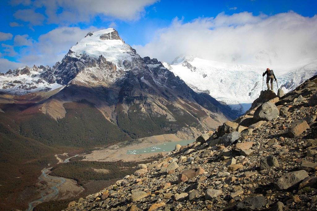Exploring the Loma de las Pizarras ridge, with Cerro Solo (2121m) towering above the Laguna Torre. PN Los Glaciares. Patagonia. Argentina.