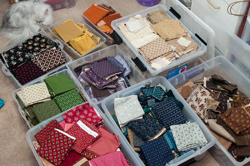 Organized my Reproduction fabrics by color