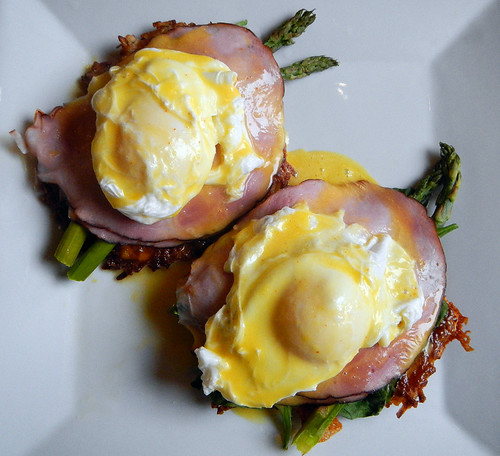Eggs Benny & Asparagus on a Potato Latke