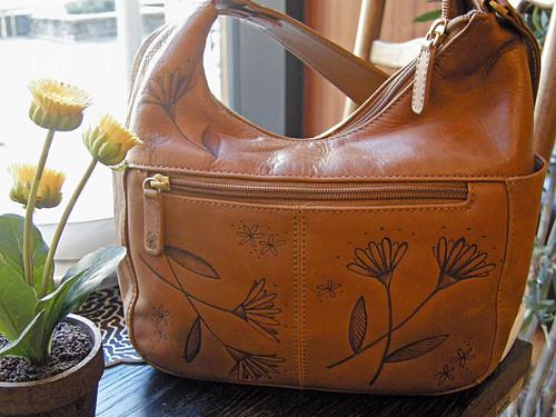 Wood burned leather purse