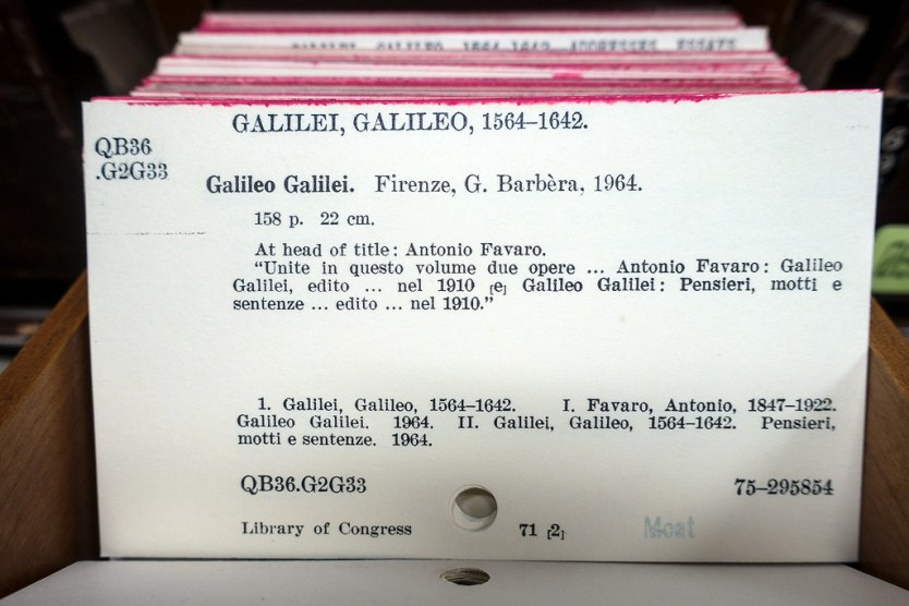 Galileo card from the card catalog, Library of Congress