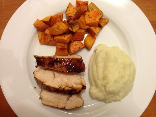 roasted turkey breast tenderloin, sweet potatoes, mashed cauliflower