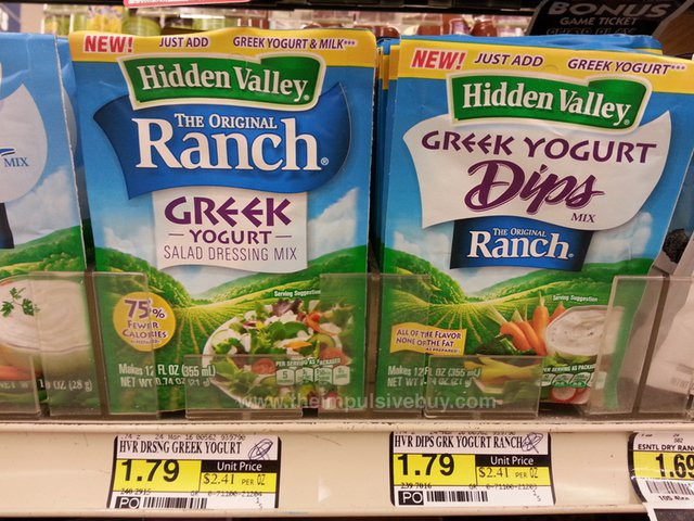 Hidden Vally Greek Yogurt Salad Dressing Mix and Greek Yogurt Dips Mix