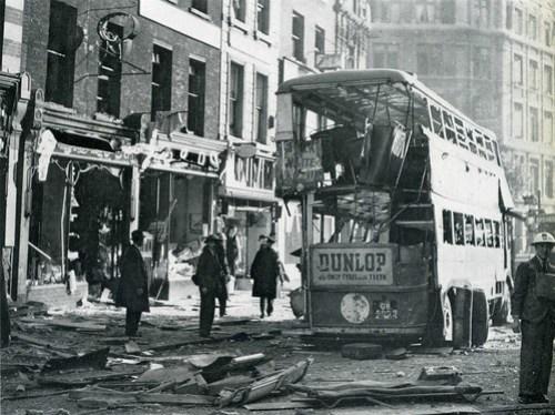 High Holborn at Chancery lane station, WW2 bomb damage, 8th October 1940 (3/4)
