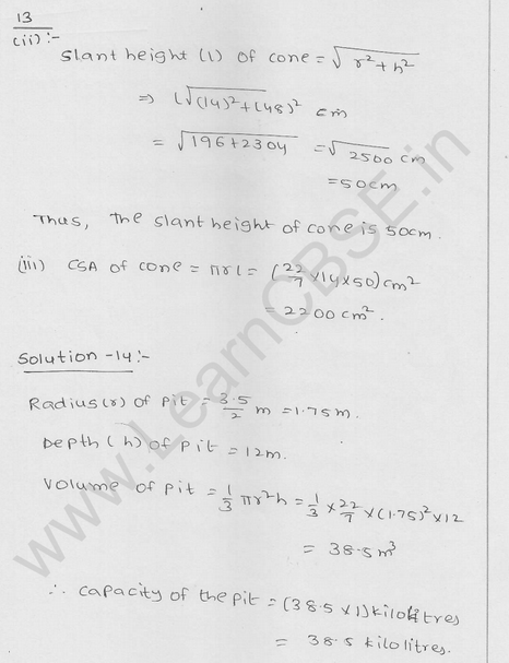 RD Sharma Class 9 solutions Chapter 20 Surface Area and