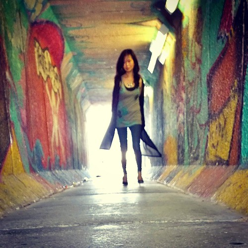 """""""Light at the end of the tunnel"""" - Haven't done one of these 'selfies' in a while. This morning, I took the train and found myself alone at the station. There was nice light, a bit of wind, and great colours coming through from the graffiti... So, took ou"""