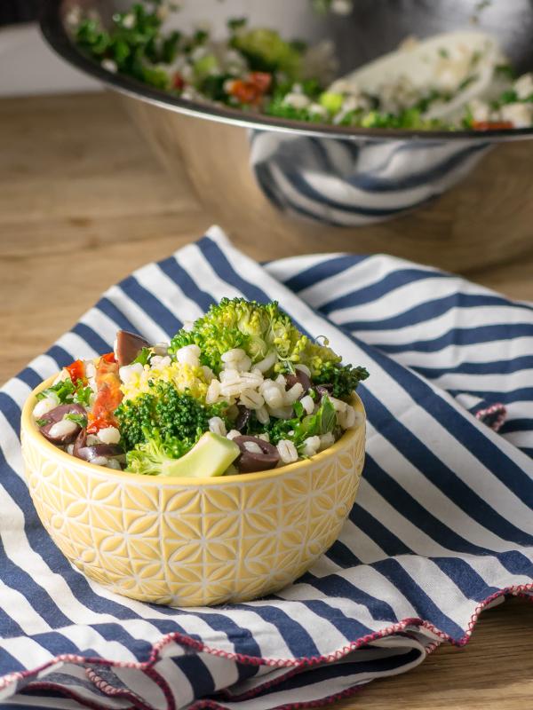 Mediterranean Broccoli and Barley Salad | www.infinebalance.com #salad #recipe #vegan
