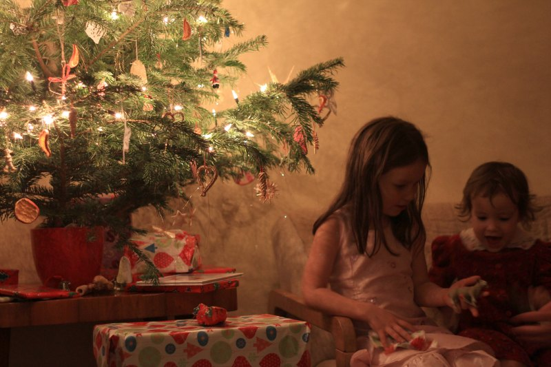 opening gifts on Christmas