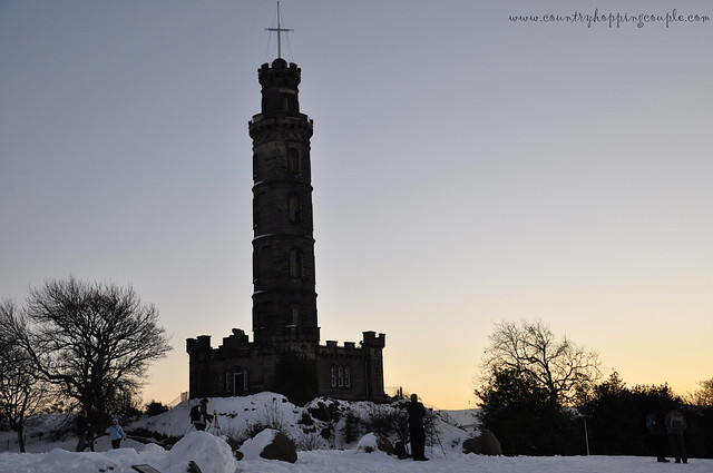 Nelson Monument Calton Hill under snow