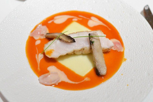 MONKFISH Pan Roasted Monkfish; Sautéed Cepes, Pearl Onions à la Crème, Lemon-Paprika Sauce
