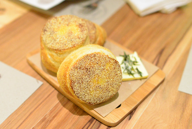 HOMEMADE ENGLISH MUFFINS rosemary, sea salt, cultured house butter