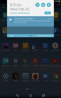 Notifications ของ ASUS fonepad 8