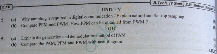 RTU: Question Papers 2013 - 5 Semester - EE - 5E3129