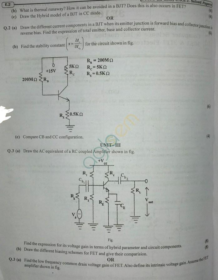 RTU: Question Papers 2014 - 3 Semester - CS & IT - 3E1651