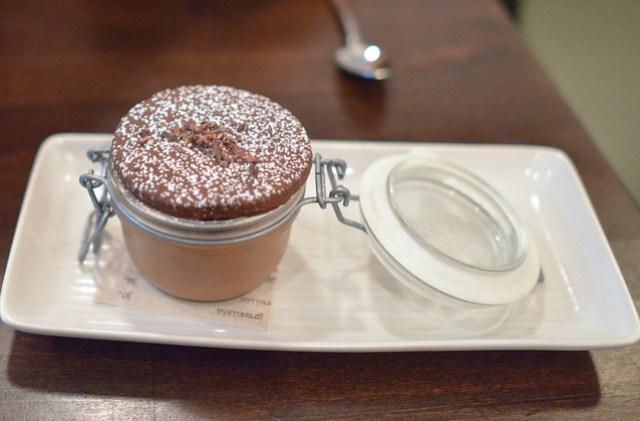 GIANDUJA CHOCOLATE BUDINO cocoa nib, truffle salt, ligurian olive oil