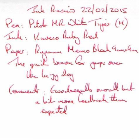Kaweco Ruby Red Ink Review - Ryman Memo Block