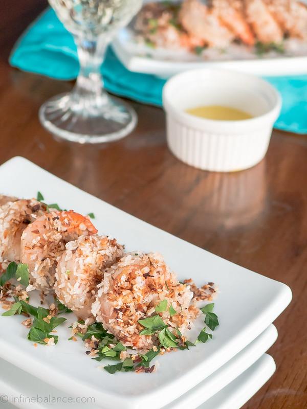 coconut jerk shrimp appetizer plated