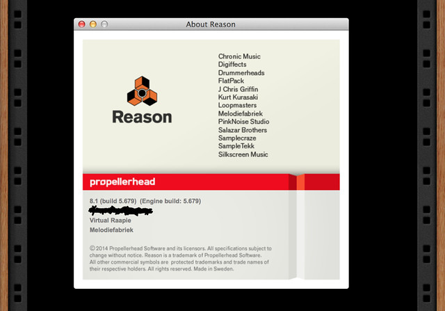 My credits for loops and samples in Reason 8