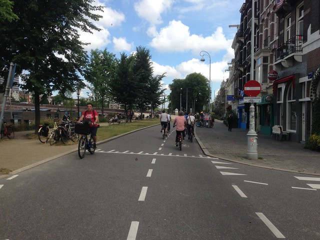 Dutch contra-flow cycle lane in Amsterdam