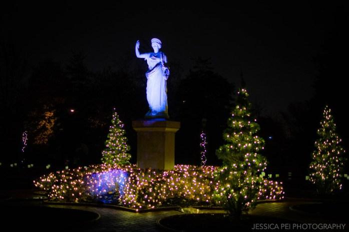 Goddess Statue Lights Up in Garden Glow St. Louis
