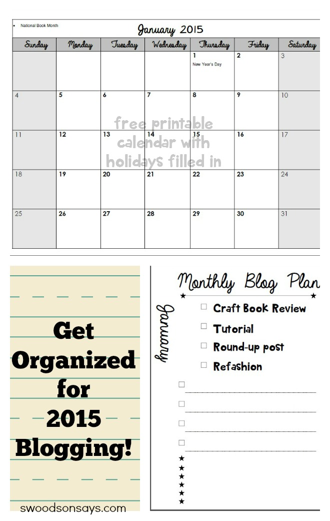 Free 2015 Blog Calendar and Organization Printables
