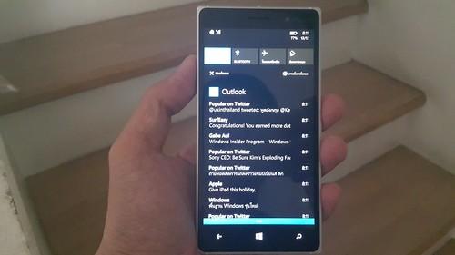 Action center หรือก็คือ Notifications บน Lumia 830