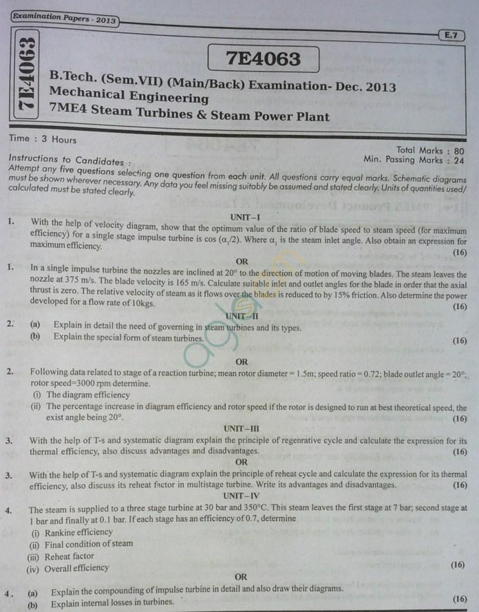 RTU: Question Papers 2013 - 7 Semester - ME - 7E4063