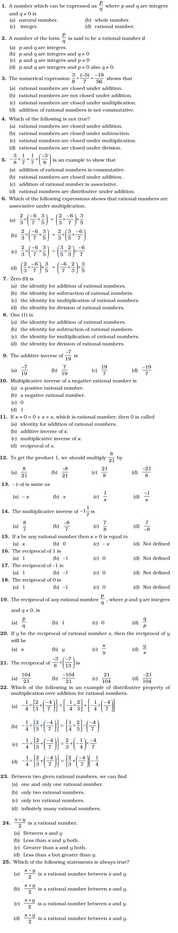 hight resolution of Class 8 Important Questions for Maths – Rational Numbers   AglaSem Schools