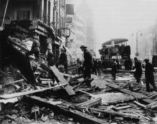 High Holborn at Chancery Lane station, WW2 bomb damage, 8th October 1940 (1/4)