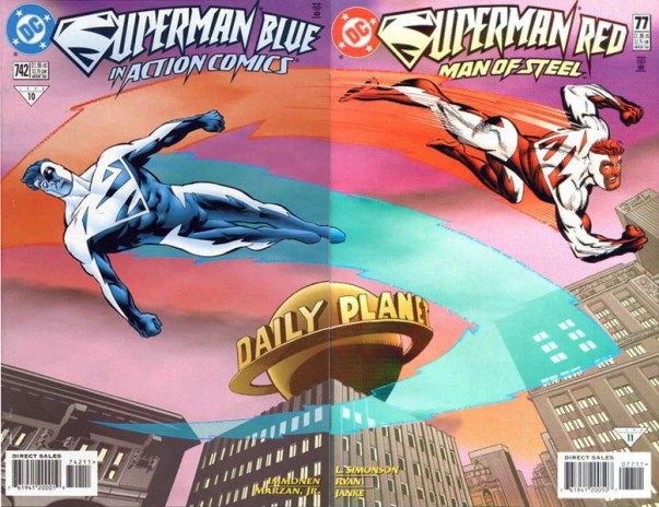 Image result for superman blue superman red