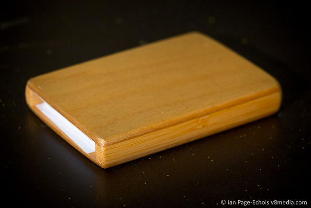 Bamboo and plywood business card case front
